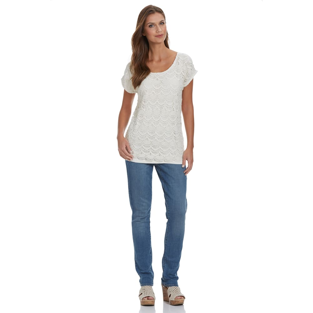 OVERDRIVE Women's Lace Front Tee - IVORY