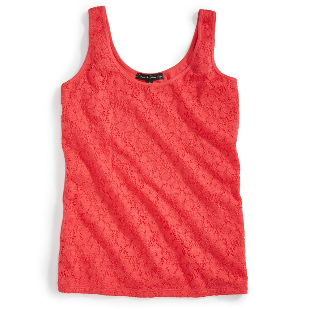 FRENCH LAUNDRY Women's Lace Front Tank Top - 679J-PARADISE PINK