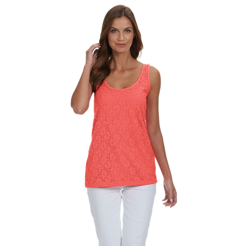FRENCH LAUNDRY Women's Lace Front Tank Top - 907A-GUAVA MELON