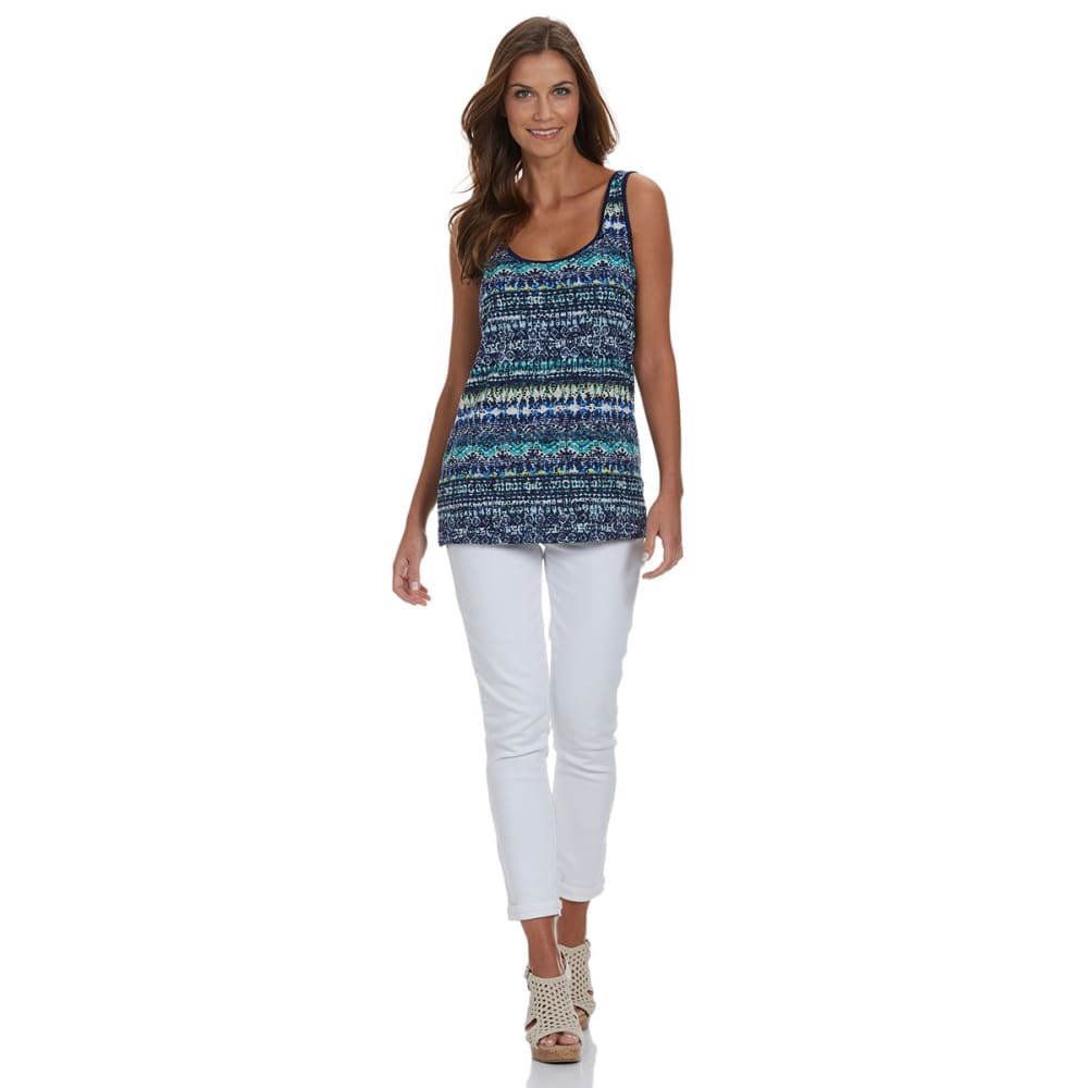 FRENCH LAUNDRY Women's Printed Lace Front Tank Top - SPRING NAVY COMBO