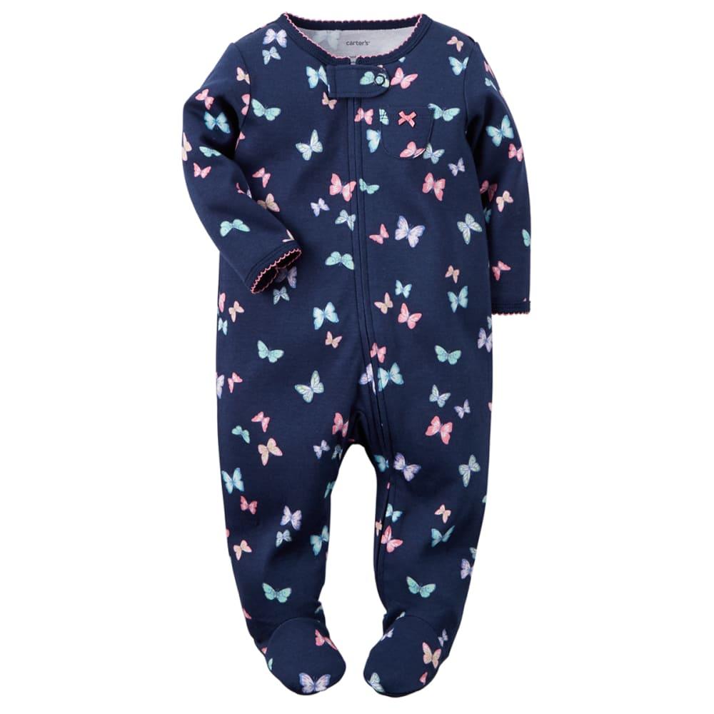 CARTER'S Baby Girls' Butterfly Zip-Up Sleep & Play One-Piece - NAVY