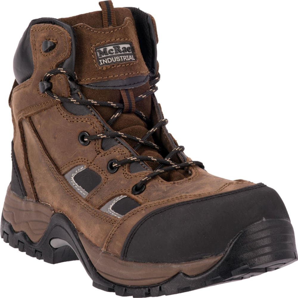 MCRAE Men's 6'' Composite Toe Puncture Resistant Boots, Wide - BROWN