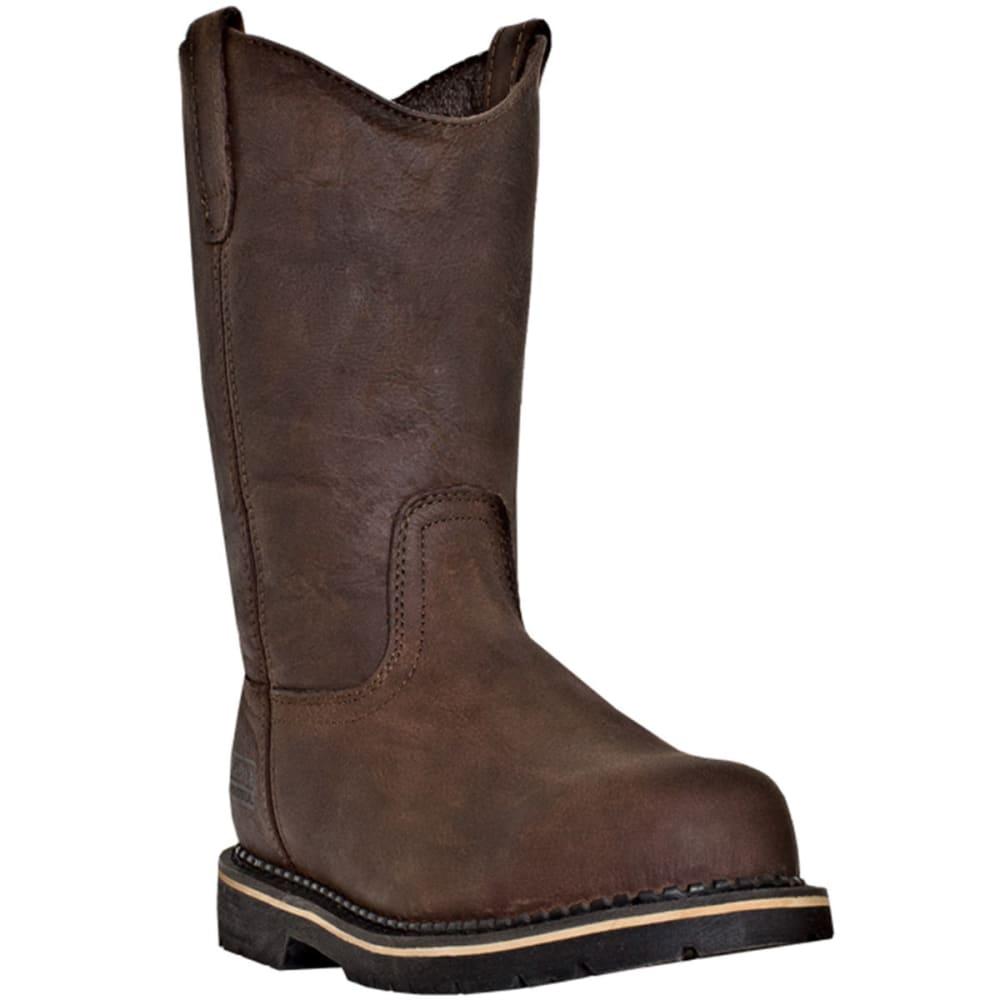 MCRAE Men's 11'' Steel Toe Pull On Boots - BROWN
