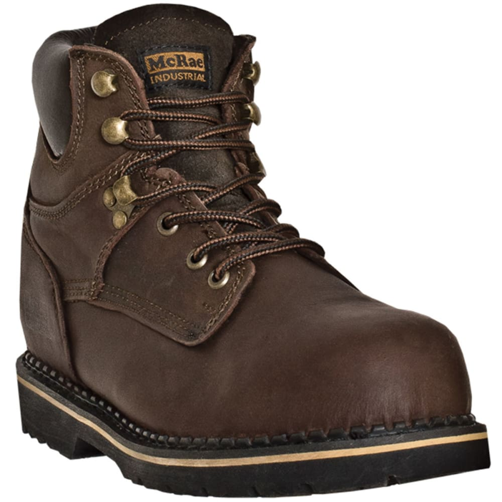MCRAE Men's 6'' Steel Toe Lace Up Boots - BROWN