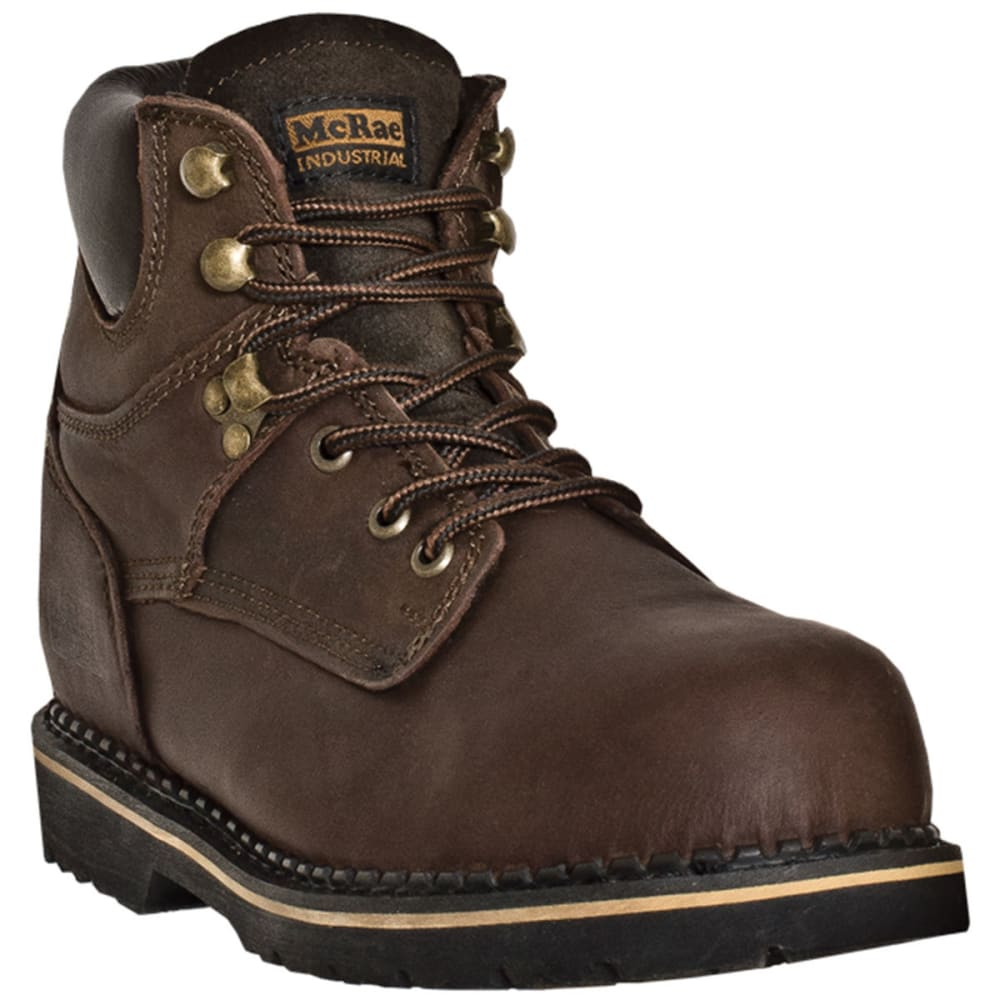 MCRAE Men's 6'' Steel Toe Lace Up Boots, Wide - BROWN
