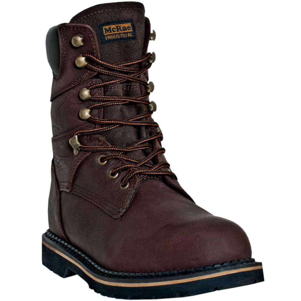 MCRAE Men's 8'' Lace Up Boot, Wide - BROWN
