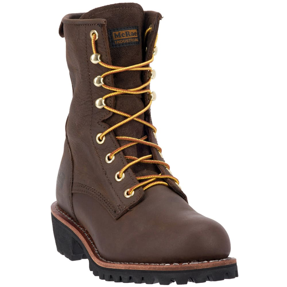 MCRAE Men's 8'' Logger Boot, Wide - BROWN