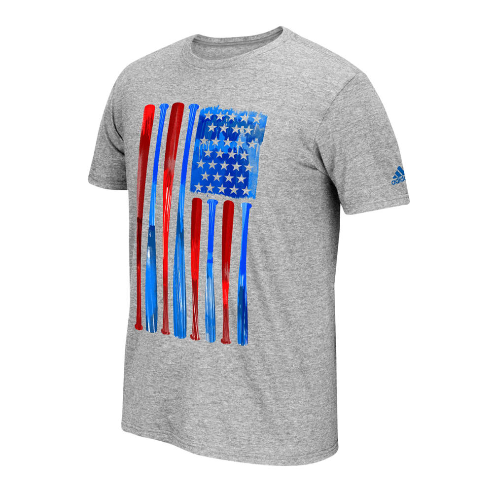 ADIDAS Men's Baseball Flag Tee - MED GRY HTHR/BLU/RED