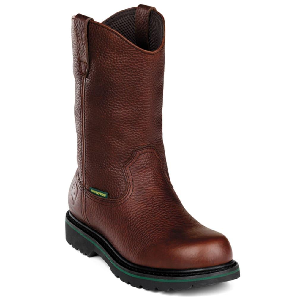 "JOHN DEERE Men's 10"" Waterproof Steel Toe Boot, Wide - DARK BROWN"