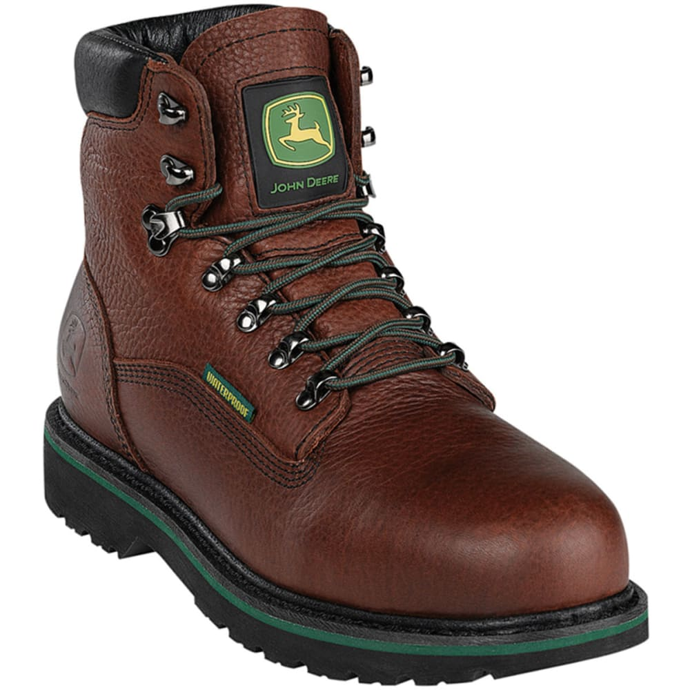 JOHN DEERE Men's 6€ Waterproof Steel Toe Boots, Wide - DARK BROWN