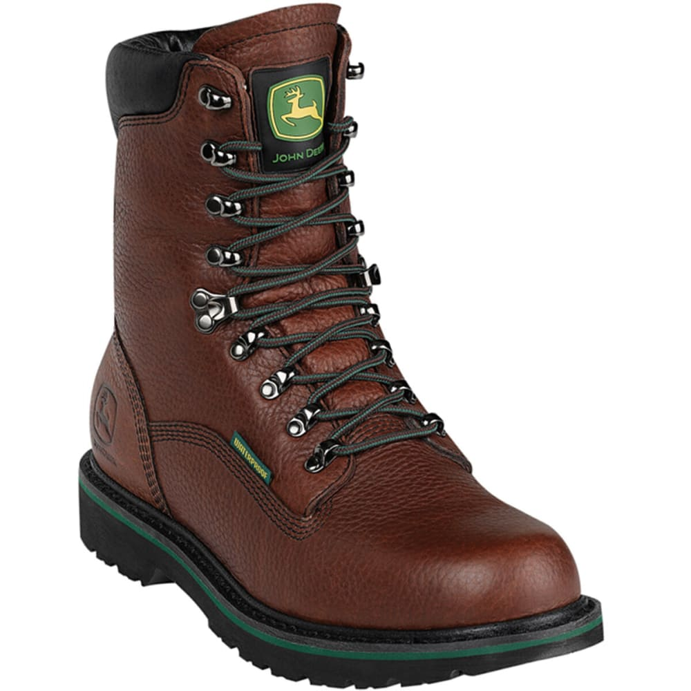 "JOHN DEERE Men's 8"" Waterproof Lace-Up Boots - DARK BROWN"