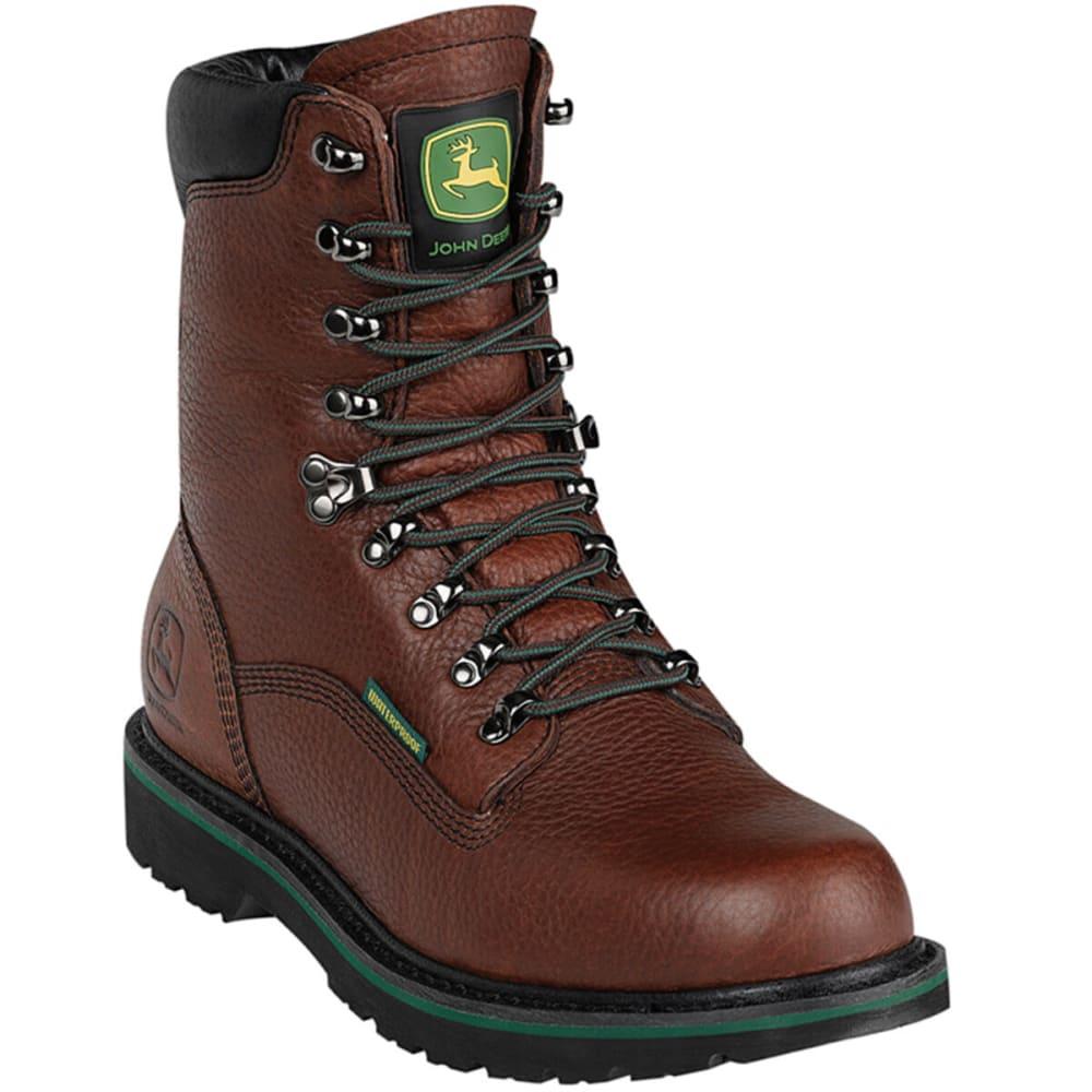 """JOHN DEERE Men's 8"""" Waterproof Lace-Up Boots, Wide - DARK BROWN"""