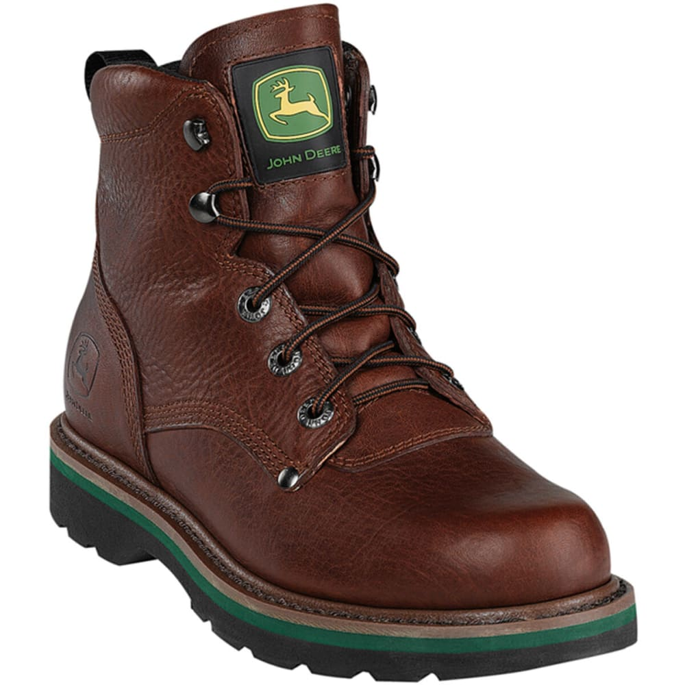 "JOHN DEERE Men's 6"" Steel Toe Lacer - BROWN WALNUT"