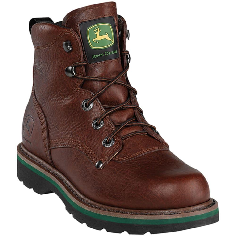 """JOHN DEERE Men's 6"""" Steel Toe Lacer, Wide - BROWN WALNUT"""