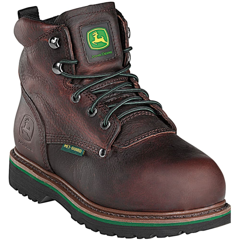 "JOHN DEERE Men's 6"" Steel Toe Lace-Up Boot, Wide - DARK BROWN"