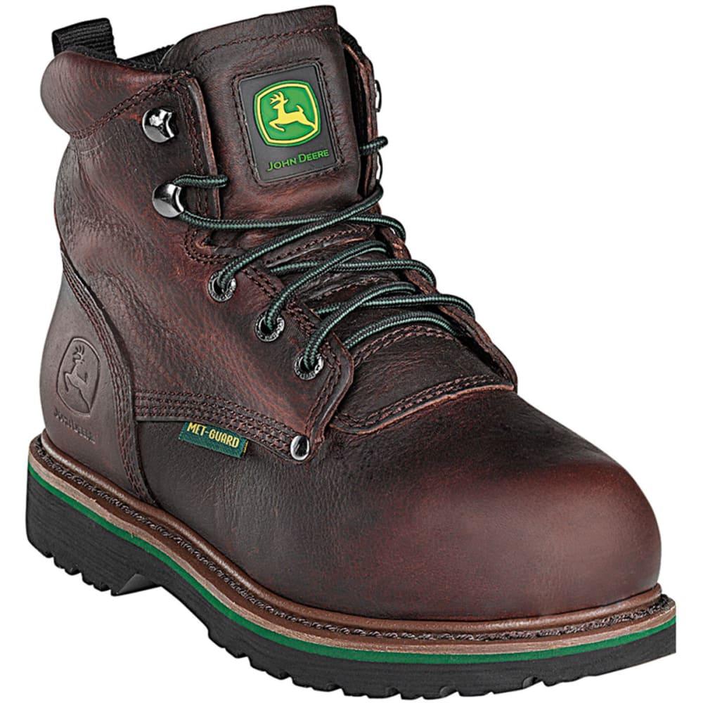"""JOHN DEERE Men's 6"""" Steel Toe Lace-Up Boot, Wide - DARK BROWN"""