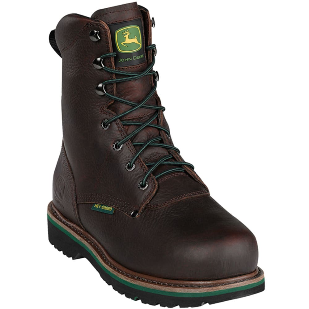 "JOHN DEERE Men's 8"" Steel Toe Lace Up - DARK BROWN"