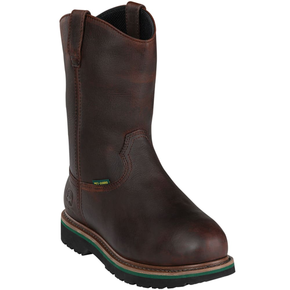 "JOHN DEERE Men's 11"" Steel Toe Met Guard Pull-On Boots, Wide - DARK BROWN"