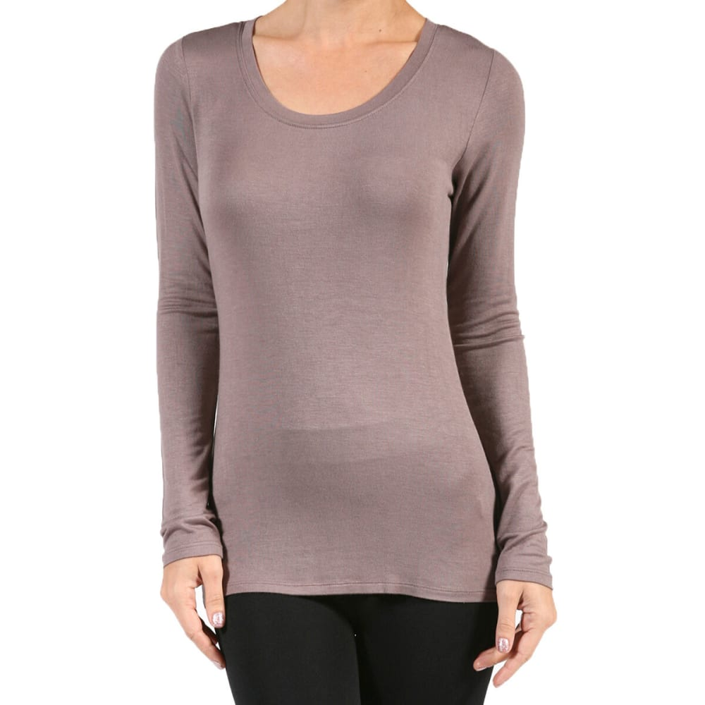 ACTIVE BASIC Juniors' Scoop Neck Jersey Long-Sleeved Tee - MOCHA