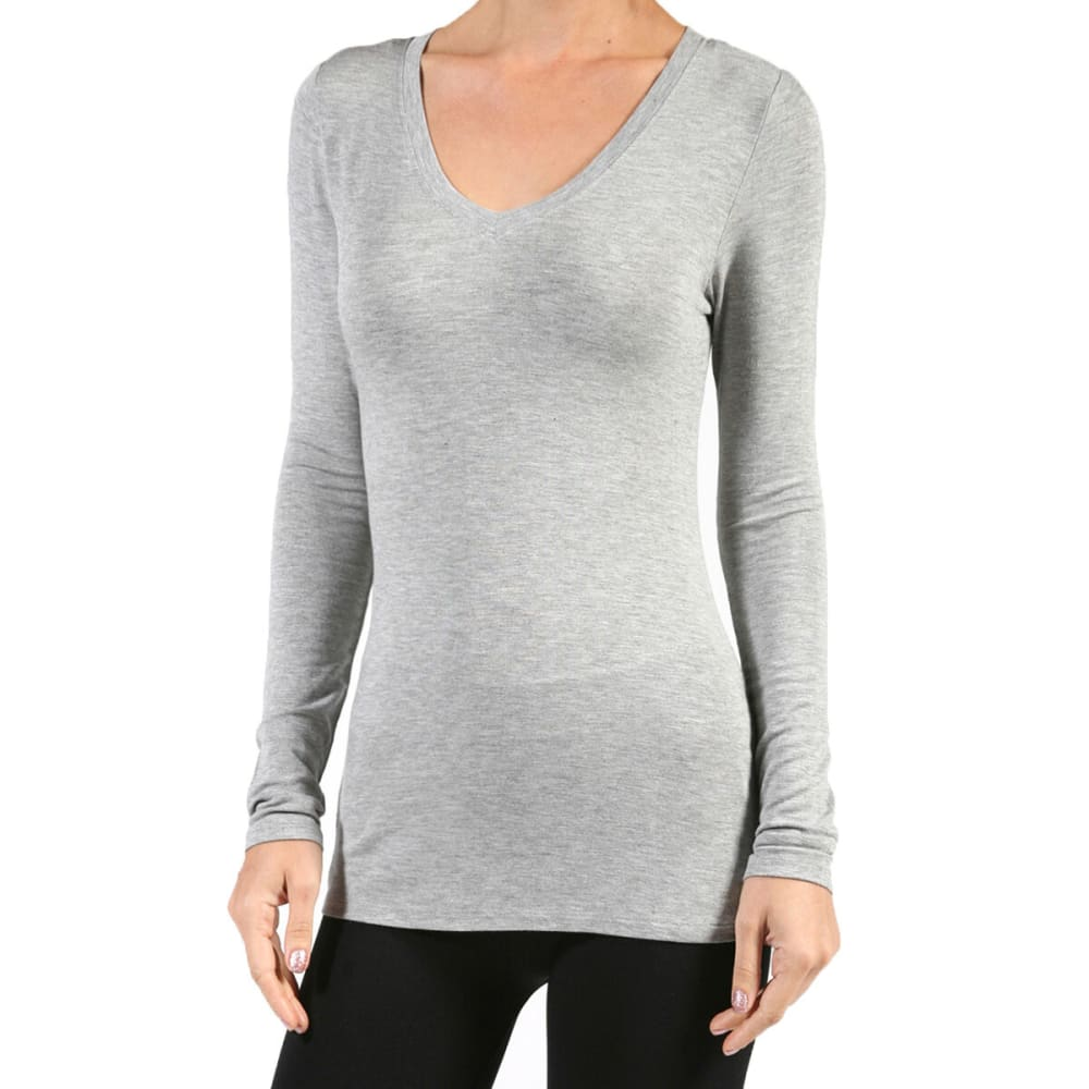 ACTIVE BASIC Juniors' V-Neck Rayon Jersey Long-Sleeved Tee - HEATHER GREY