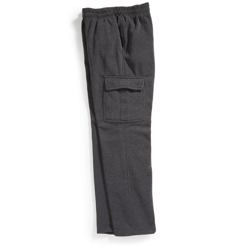 NOTHING BUT NET Guys' Fleece Cargo Pants - DK HTR GRY