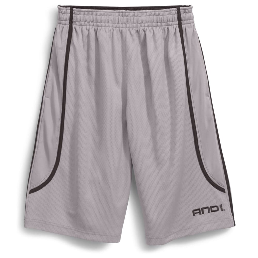 AND1 Men's Court Ruler Poly Dash Mesh Shorts - CEMENT-S58
