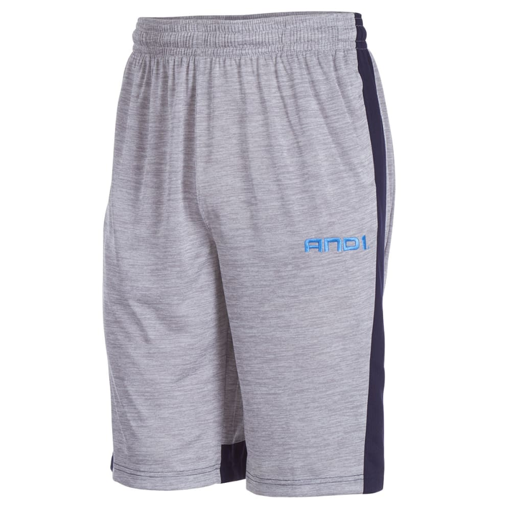 AND1 Men's World Wide West Poly Space Dye Shorts - GREY HEATHER-R144