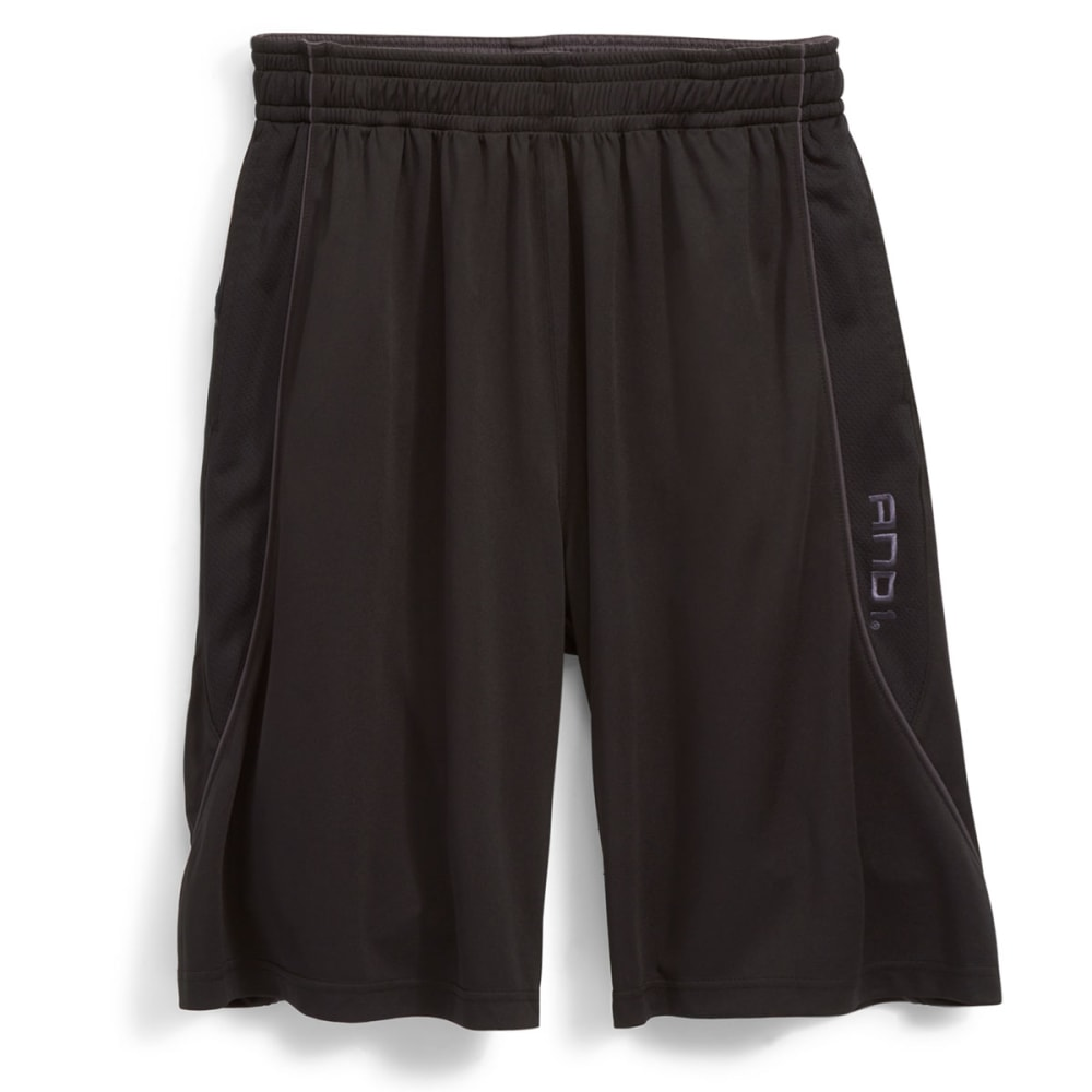 AND1 Men's Double Up Game Interlock Shorts - BLACK-007