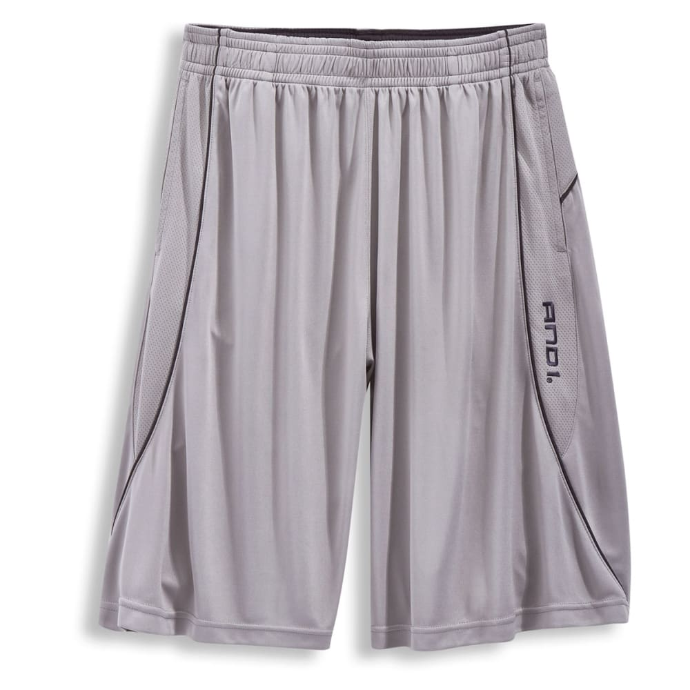 AND1 Men's Double Up Game Interlock Shorts - CEMENT-002