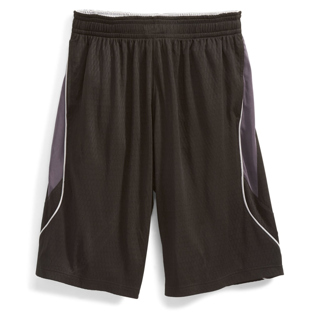 AND1 Men's Fiasco Honeycomb Mesh Dazzle Shorts - BLACK-007