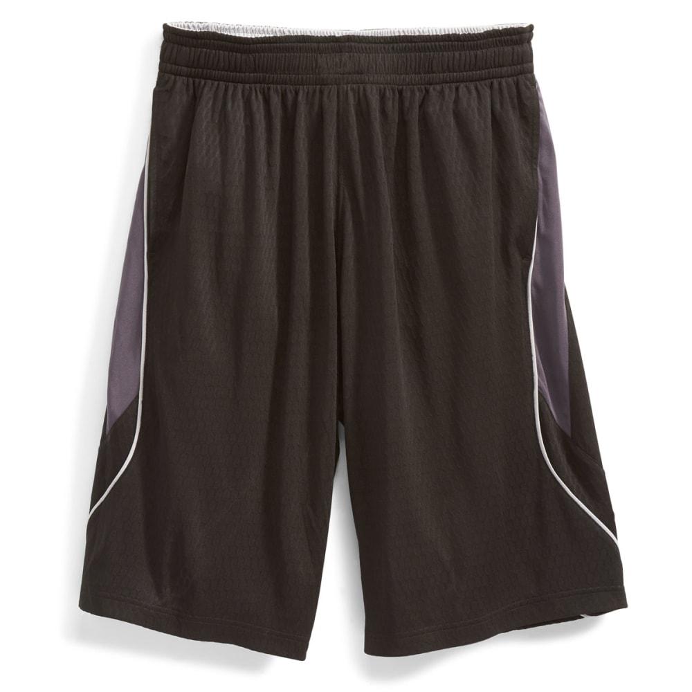 AND1 Men's Fiasco Honeycomb Mesh Dazzle Shorts - BLACK-007