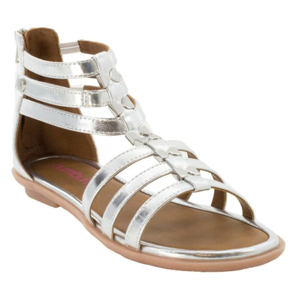 BUMBUMS & BAUBLES Girls' Athena Gladiator Sandals - SILVER