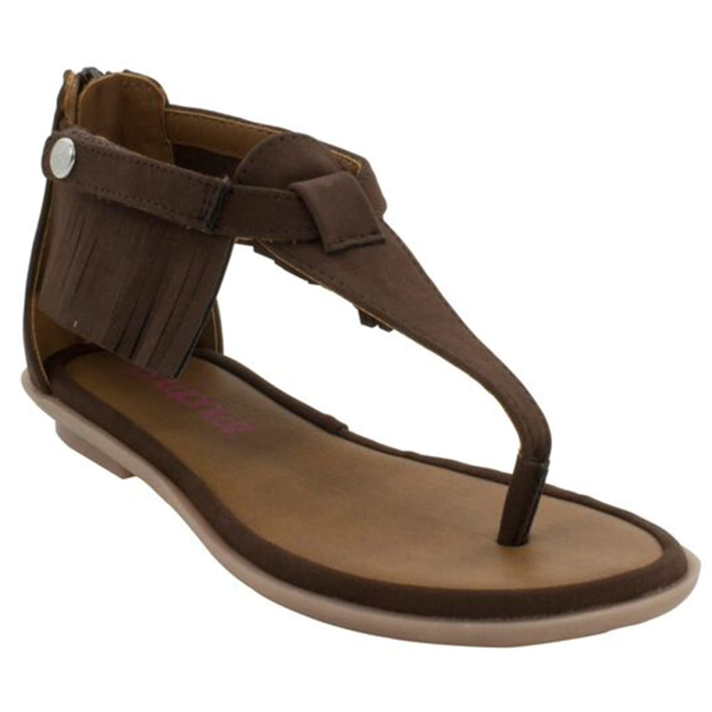 Bumbums & Baubles Girls' Sienna Fringe Sandals - Brown, 1