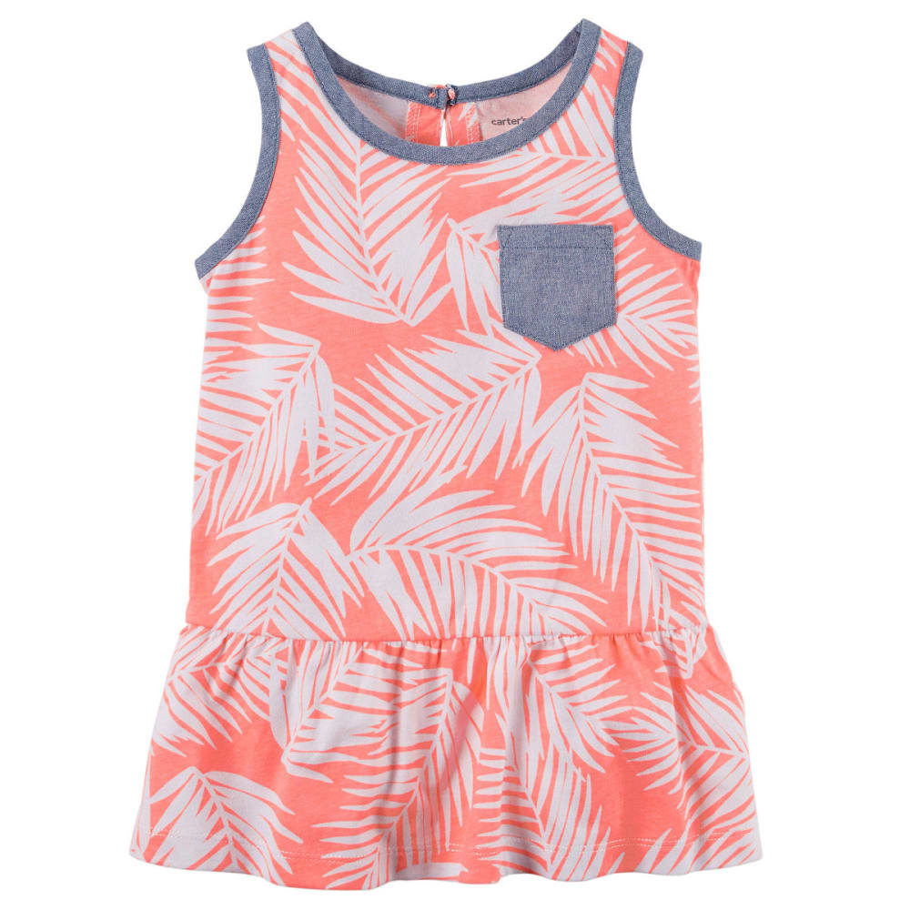 CARTER'S Girls' Neon Printed Chambray Pocket Tunic - PATTERN