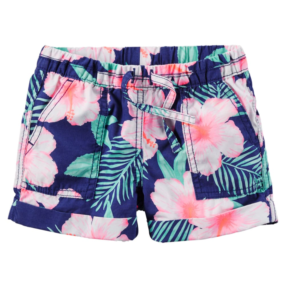 CARTER'S Toddler Girls' Pull-On Printed Poplin Shorts - FLORAL