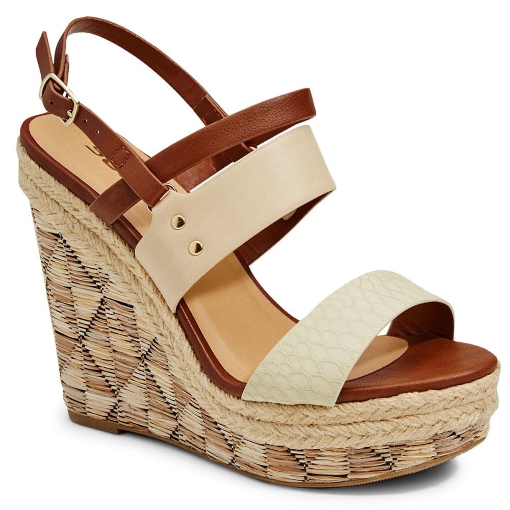 SODA Women's Leona Raffia Wedges - BEIGE