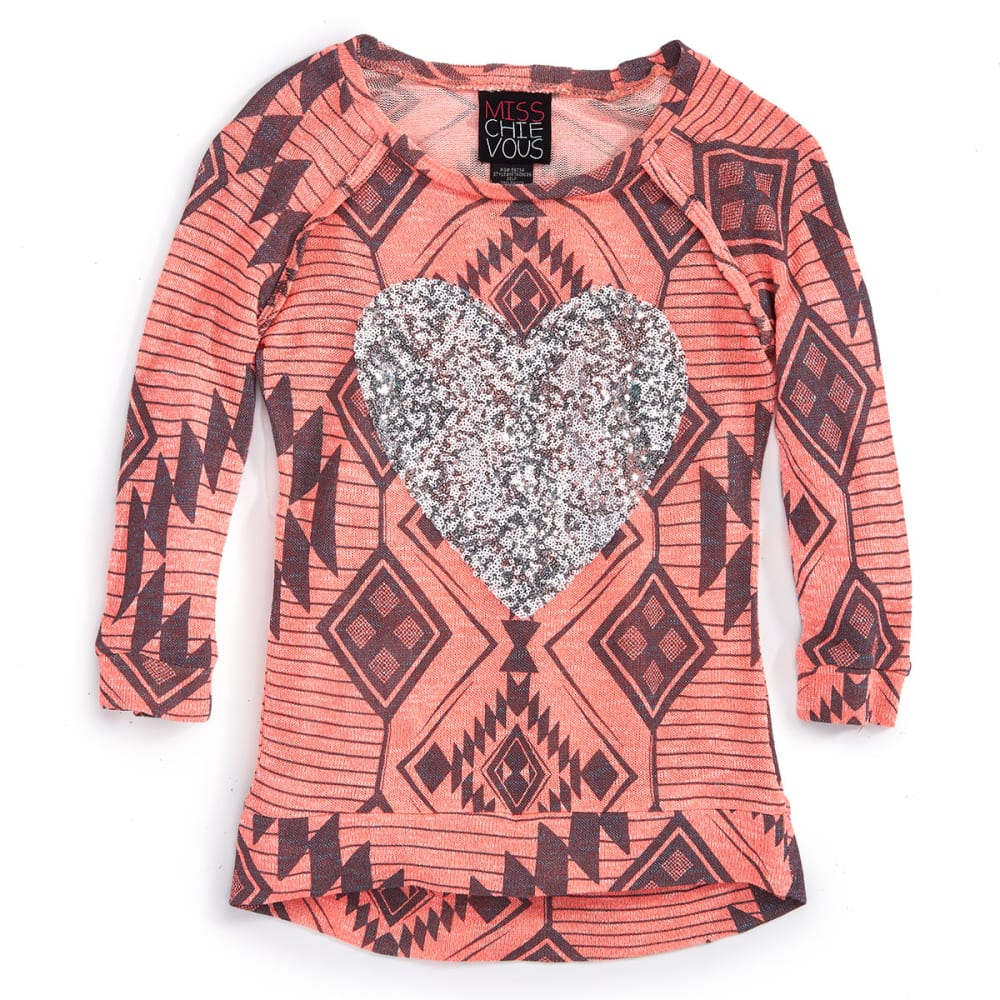 MISS CHIEVOUS Girls' ¾ Sleeve Aztec Print Heart Hacci Tunic - CORAL