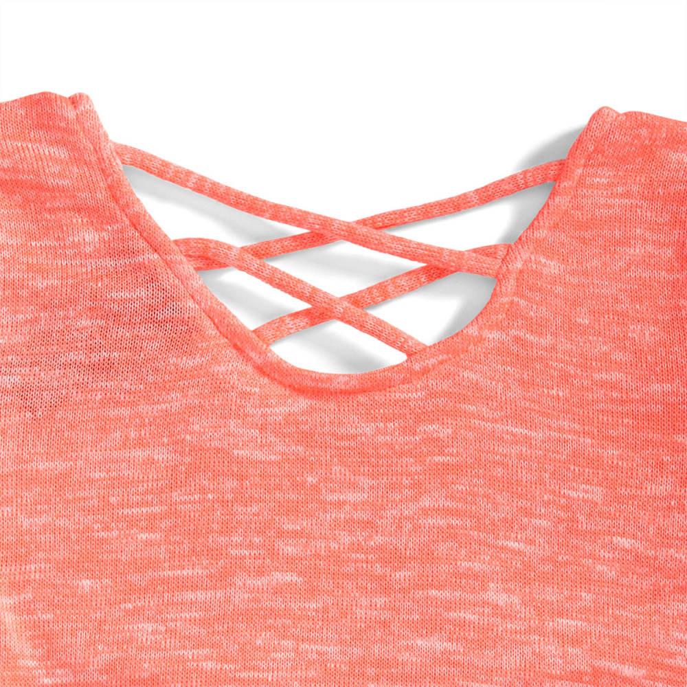 MISS CHIEVOUS Girls' Short Sleeve Sharkbite Fringe Hem Sequin Tee - CORAL