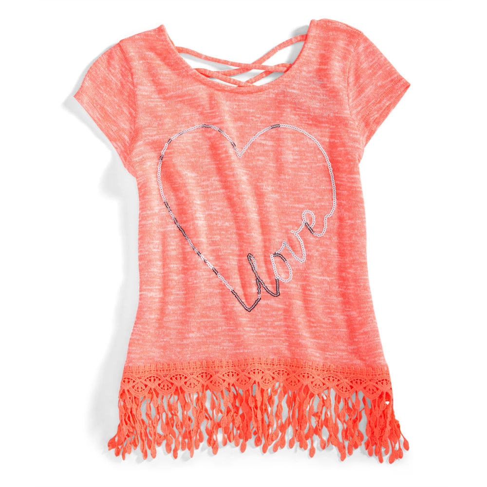 MISS CHIEVOUS Girls' Short Sleeve Sharkbite Fringe Hem Sequin Tee - CORAL