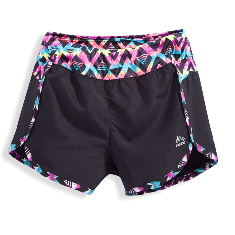 RBX Girls' Solid Print Panel Tempo Shorts - BLACK