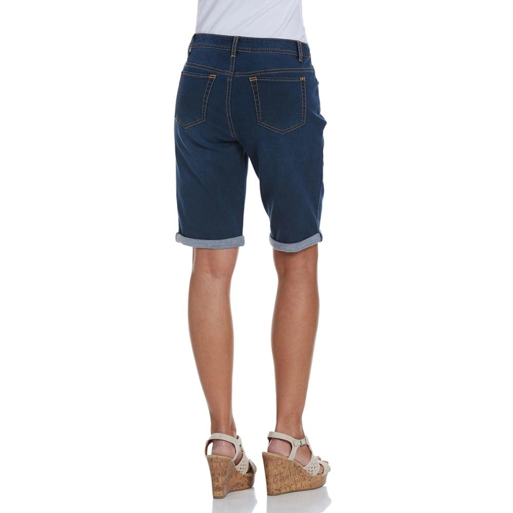 BACCINI Women's Cuffed Denim Bermuda Shorts - DENIM DRK STONE
