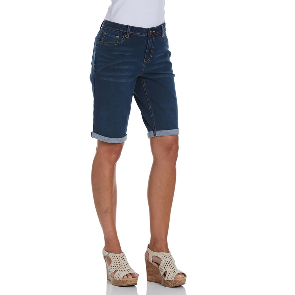 BACCINI Women's Cuffed Denim Bermuda Shorts - DENIM DRK STONE