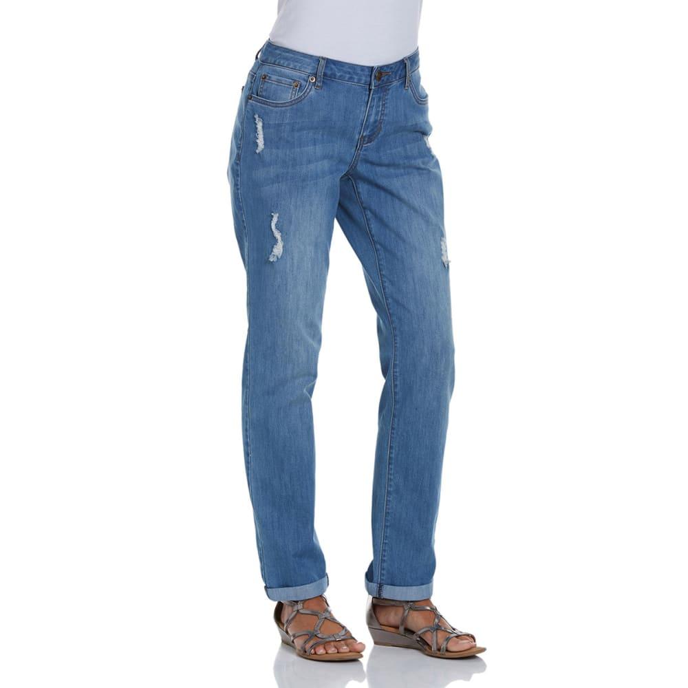 BACCINI Women's Distressed Skinny Boyfriend Jeans - LIGHT WASH