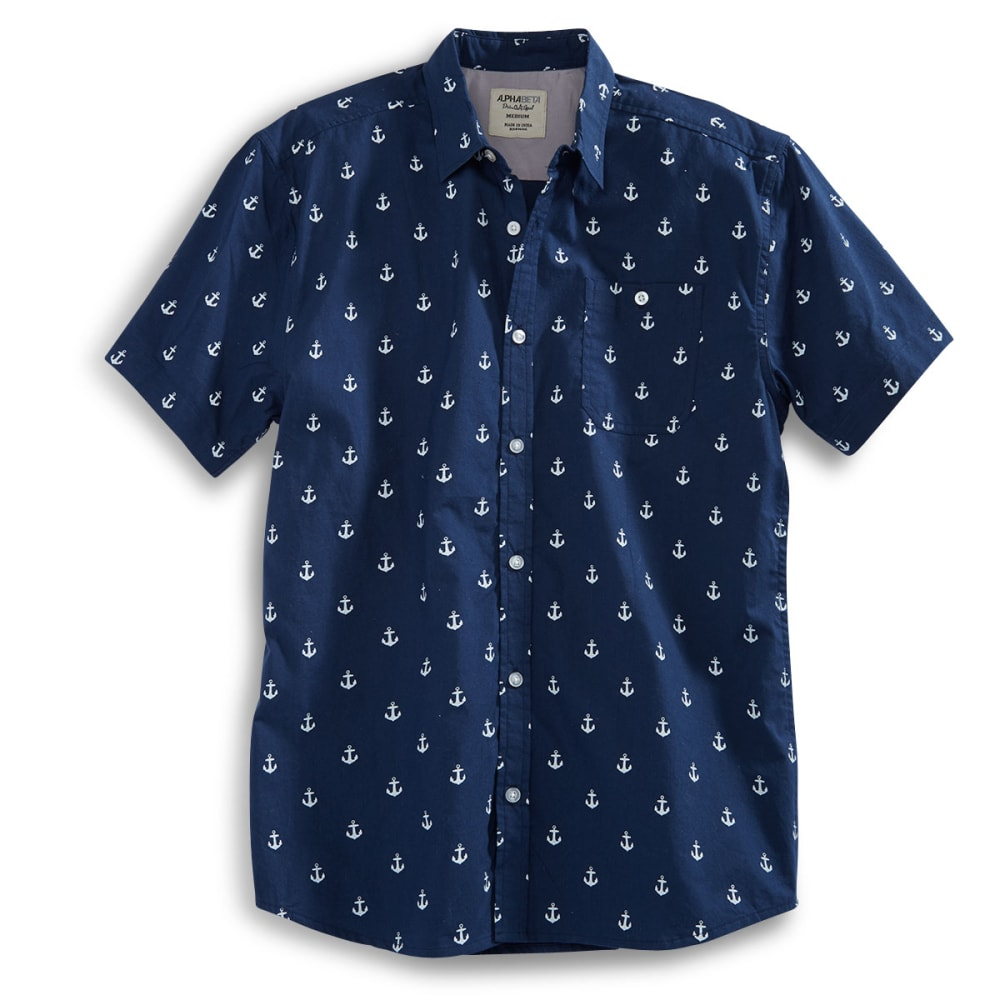 ALPHA BETA Guys' Anchor Shirt - NAVY