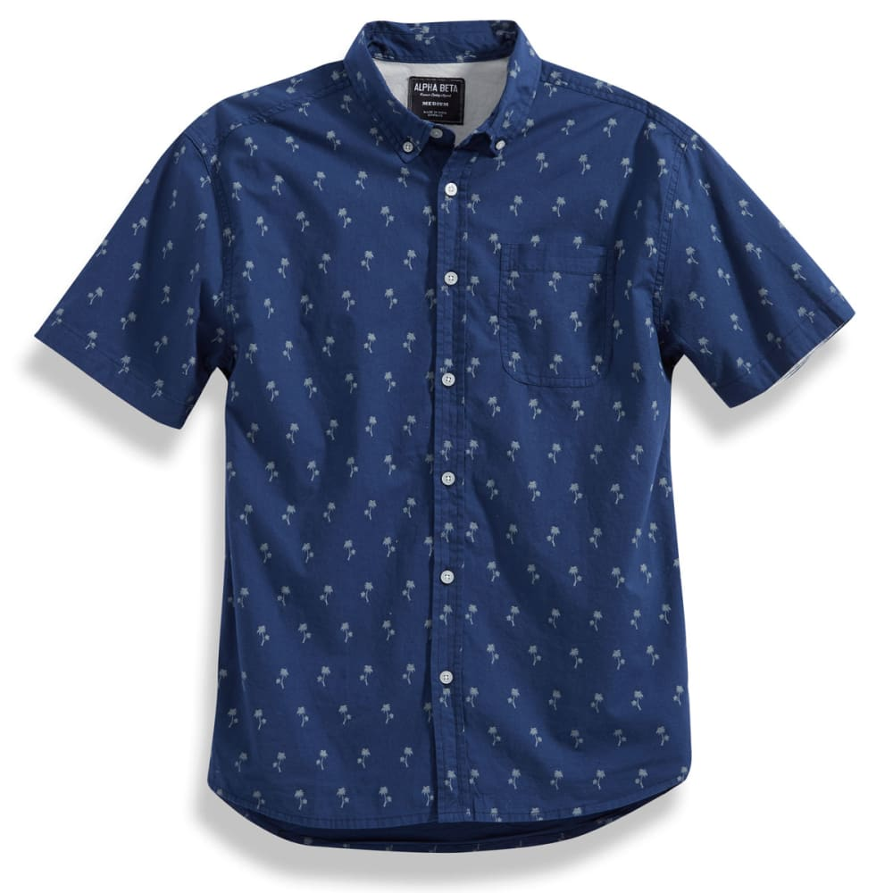 ALPHA BETA Guys' Palm Tree Shirt - NAVY