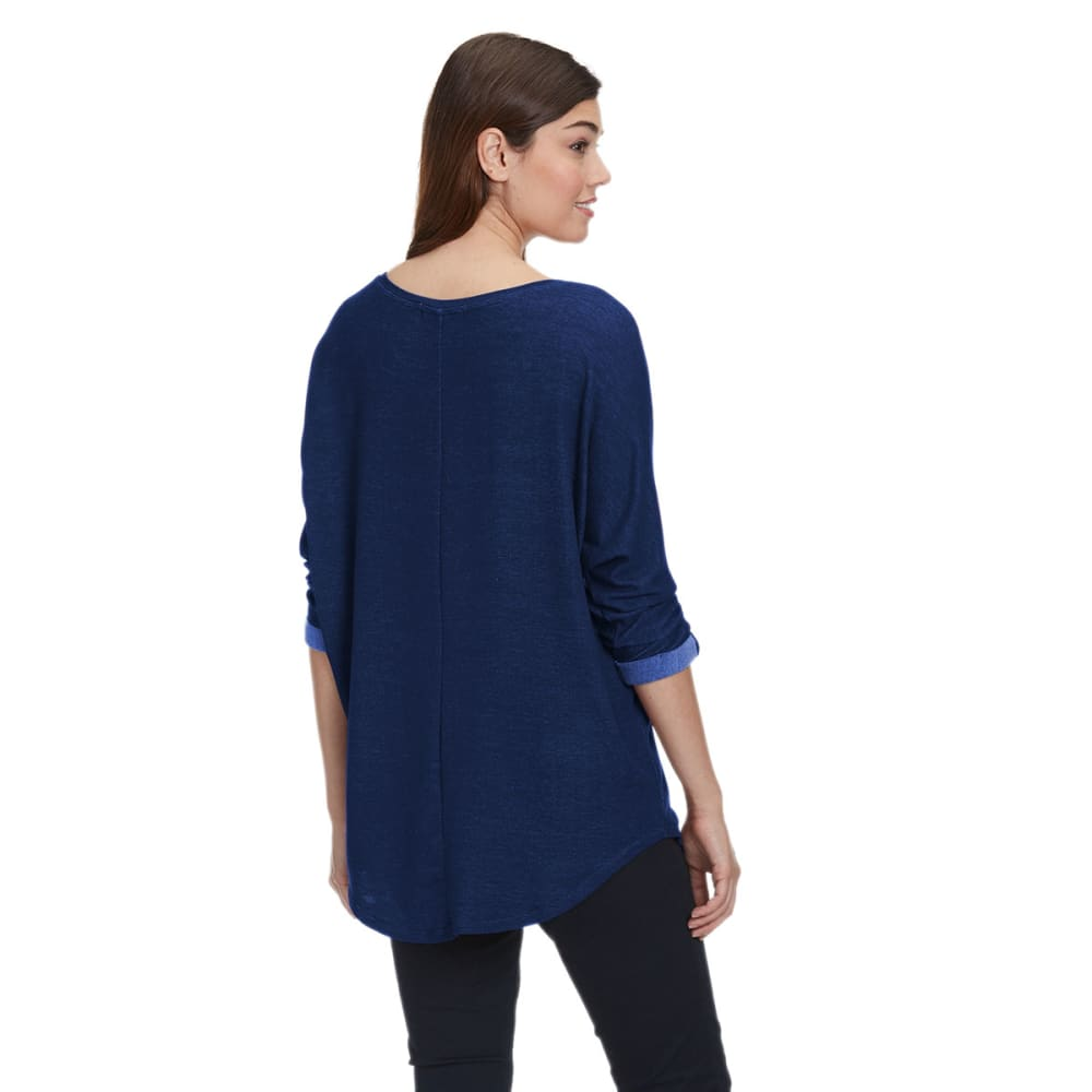 TRESICS FEMME Women's V-Neck Dolman Tunic - DENIM PEPPER