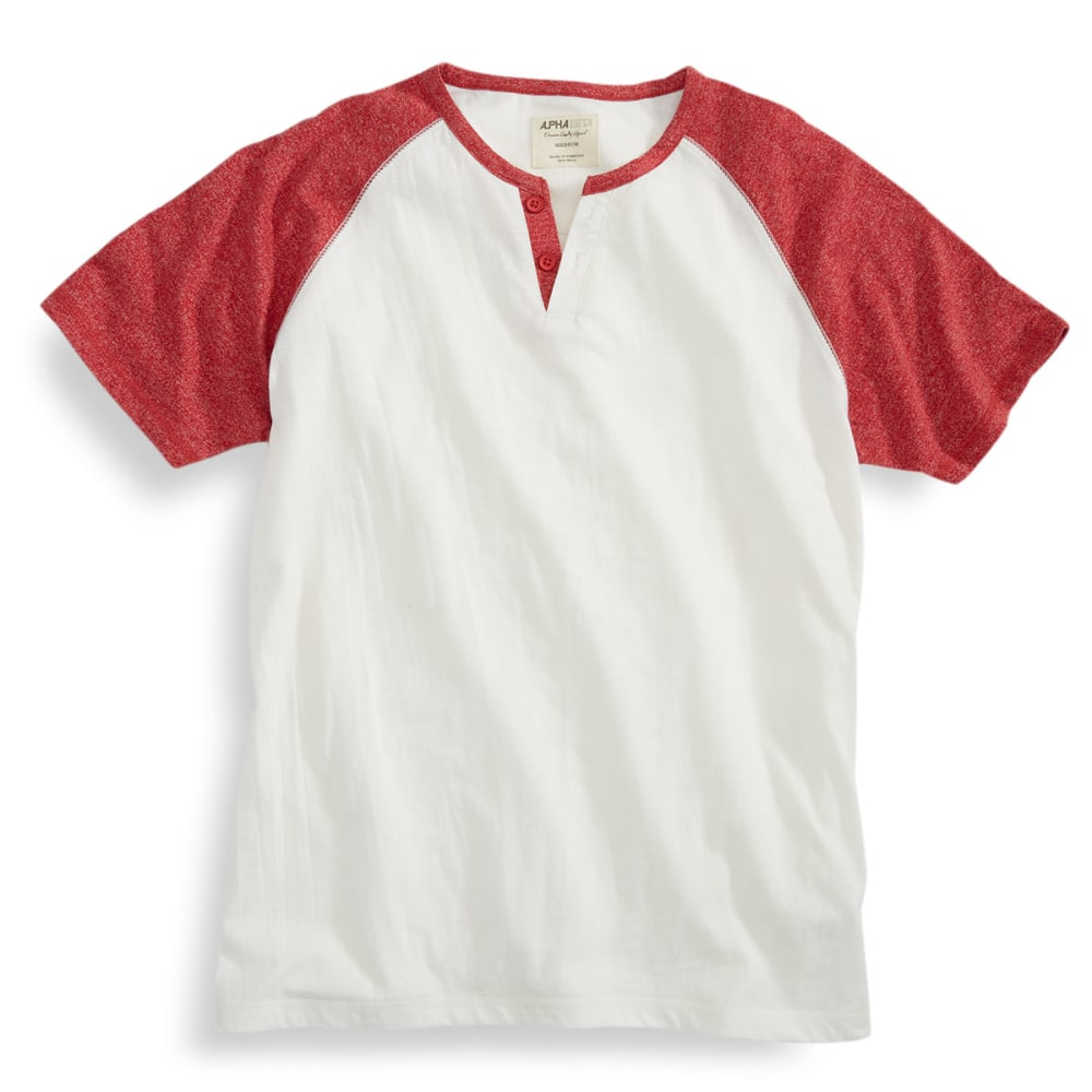 ALPHA BETA Guys' Short-Sleeve Baseball Henley - NATURAL/HAUTE RED