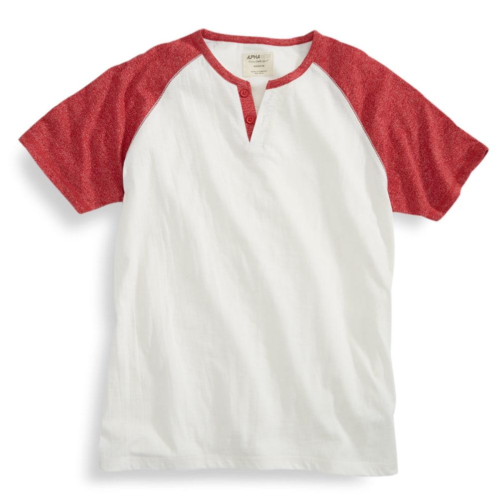 ALPHA BETA Guys' Short-Sleeve Baseball Henley - NATURAL/HAUTE RED
