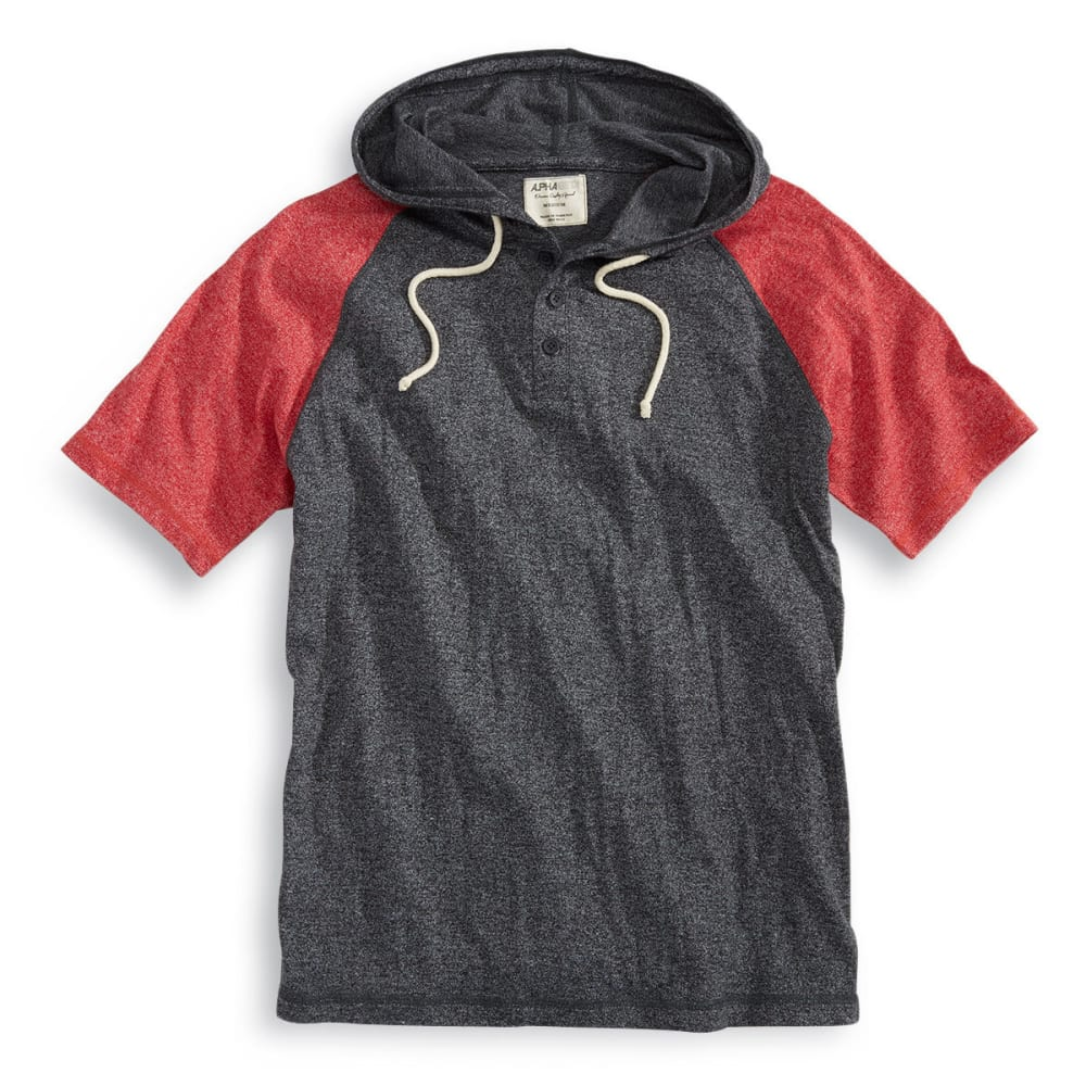 ALPHA BETA Guys' Hooded Baseball Knit Short-Sleeve Shirt - CHARCOAL/HAUTE RED