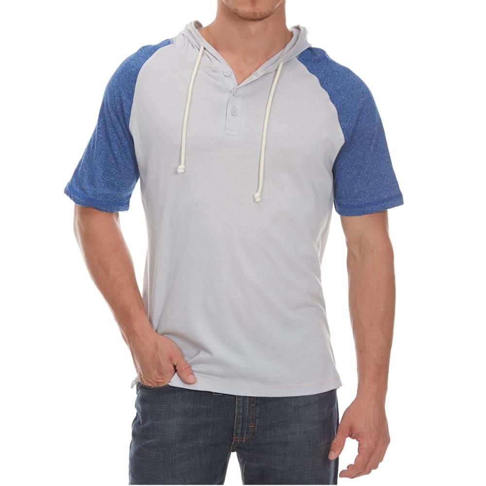 ALPHA BETA Guys' Hooded Baseball Knit Short-Sleeve Shirt - LUNAR/SKYDIVER